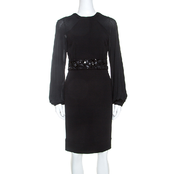 Blumarine Black Stretch Wool Crepe Embellished Belted Sheath Dress S