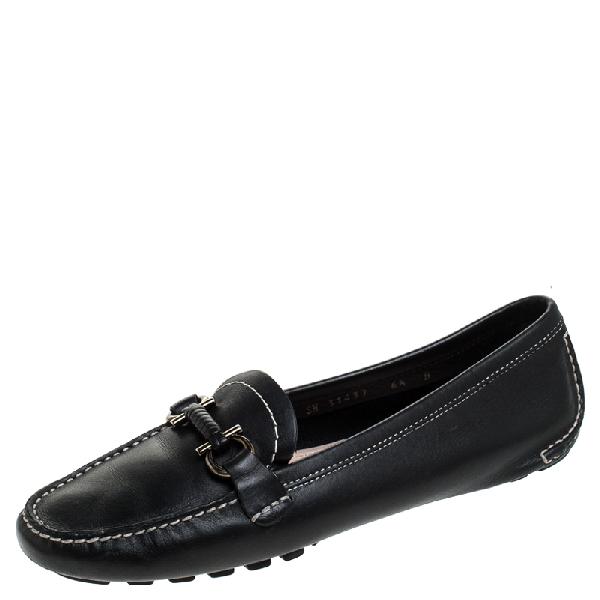 Salvatore Ferragamo Black Leather Gancio Bit Loafers Size 37