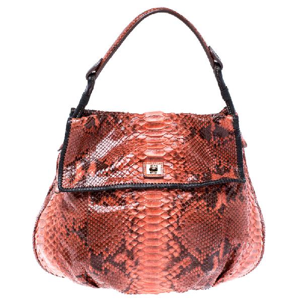 Zagliani Orange Python Leather Hobo