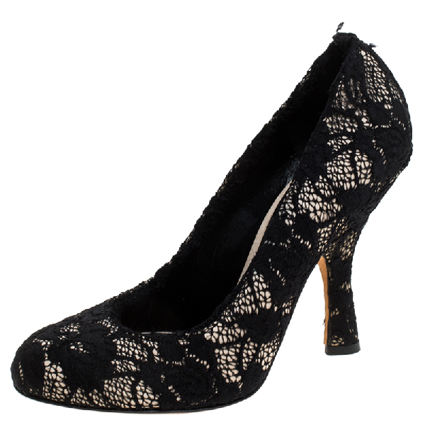 Dolce & Gabbana Black Lace Round Toe Pumps Size 38.5