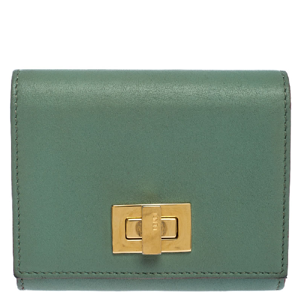 Fendi Light Olive Leather Card Holder In Green