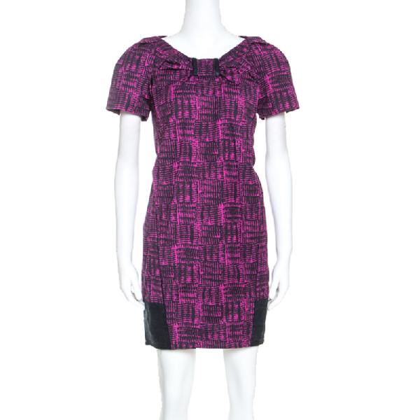 Marc By Marc Jacobs Magenta Printed Cotton Blend Canvas Dress S In Purple