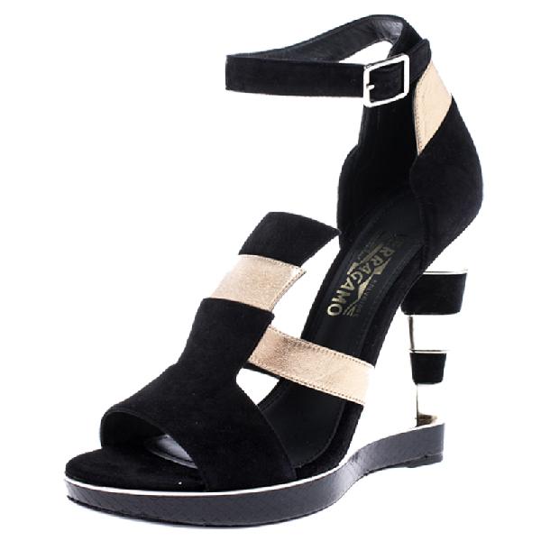 Salvatore Ferragamo Black Suede And Gold Leather Lexus Platform Sandals Size 39.5