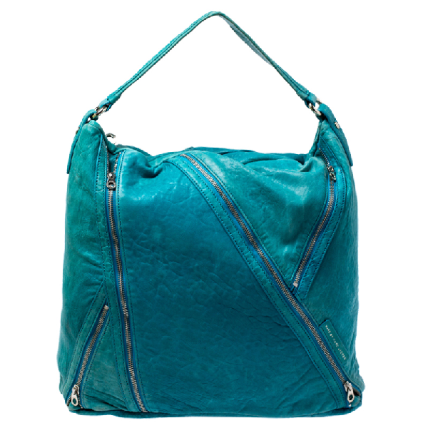 Marc By Marc Jacobs Blue Leather Leola Zip Hobo