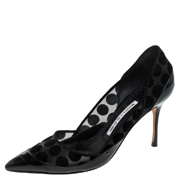 Manolo Blahnik Black Mesh And Patent Leather Polka Dot Pointed Toe Pumps Size 38