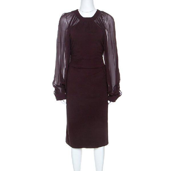 Gucci Burgundy Stretch Knit Bishop Sleeve Midi Dress L