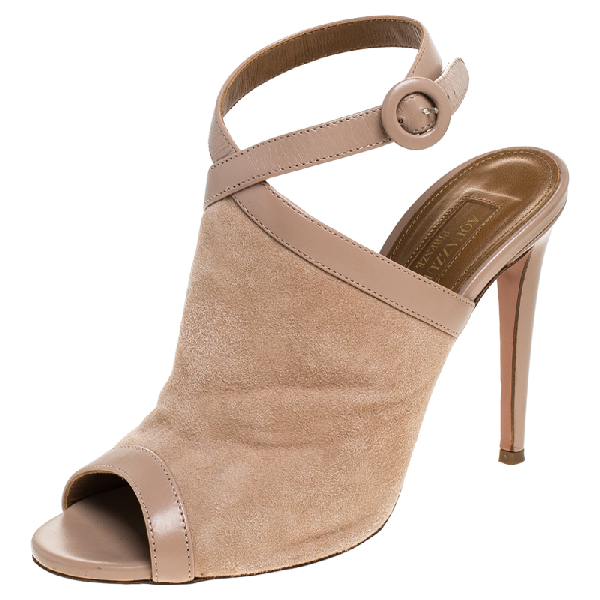Aquazzura Aquazurra Beige Suede/leather Open Toe Ankle Strap Sandals Size 37
