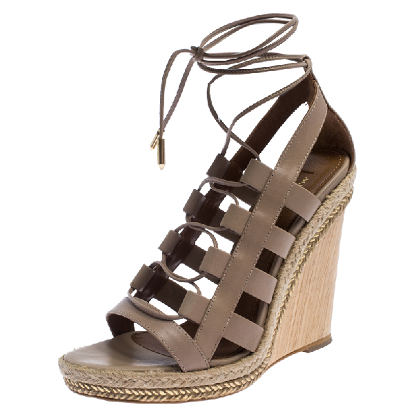 Aquazzura Beige Leather Lace Up Amazon Wedge Sandals Size 37