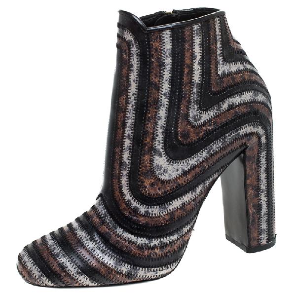 Salvatore Ferragamo Multicolor Leather Feeling Zig Zag Block Heel Ankle Boots Size 37.5 In Brown