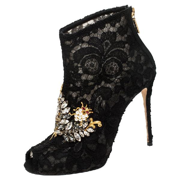 Dolce & Gabbana Black Lace Crystal Embellished Peep Toe Booties Size 38.5