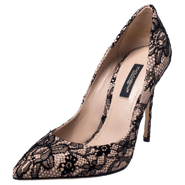 Dolce & Gabbana Black/beige Floral Lace Pointed Toe Pumps Size 35