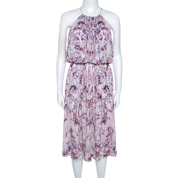 Alexander Mcqueen Lavender Marble Printed Ruched Halter Neck Dress S In Purple