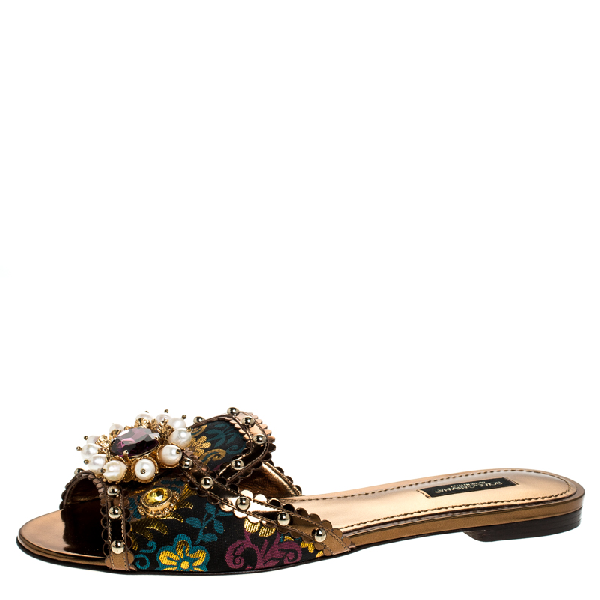 Dolce & Gabbana Multicolor Floral Brocade Fabric And Patent Leather Trim Faux Pearl Embellished Flat Slides Size 40