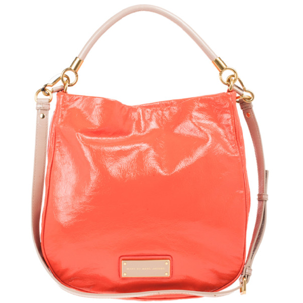 Marc By Marc Jacobs Orange Leather Too Hot To Handle Hobo In Beige