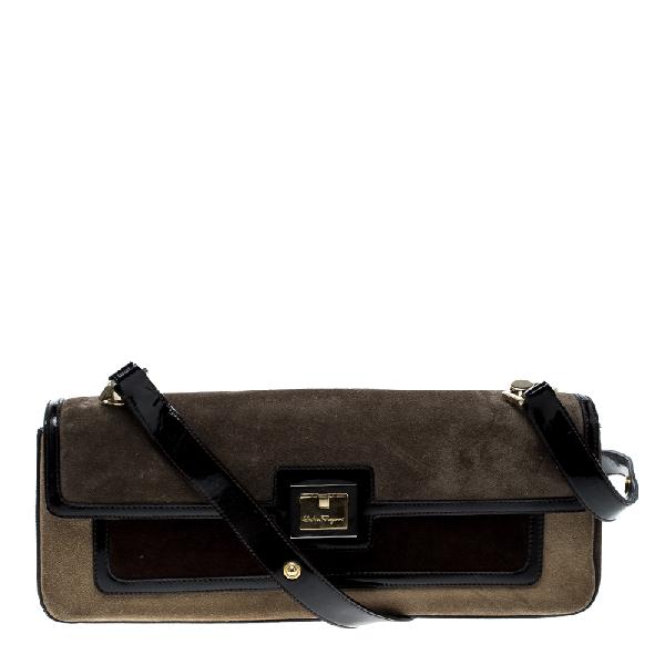 Salvatore Ferragamo Multicolor Suede And Leather Shoulder Bag