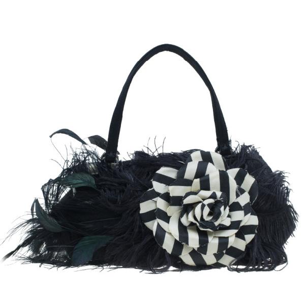 Valentino Garavani Black Leather Feather Satchel