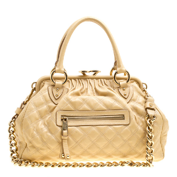 Marc Jacobs Cream Quilted Leather Stam Shoulder Bag