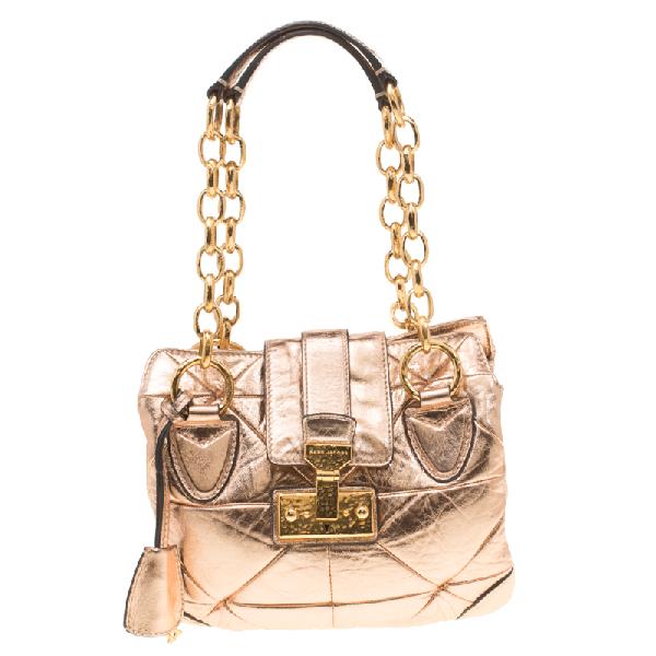 Marc Jacobs Rose Gold Quilted Leather Shoulder Bag
