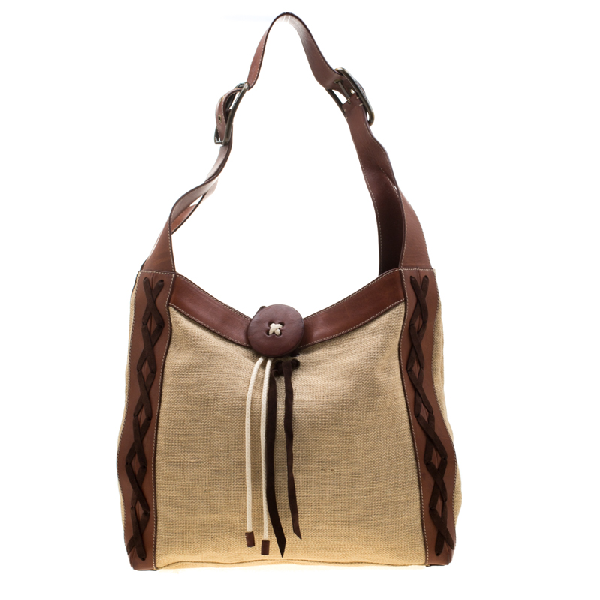 Dolce & Gabbana Beige/brown Stitches Canvas, Leather And Suede Trim Button Lock Shoulder Bag