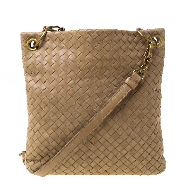 Bottega Veneta Beige Intrecciato Leather Crossbody Bag