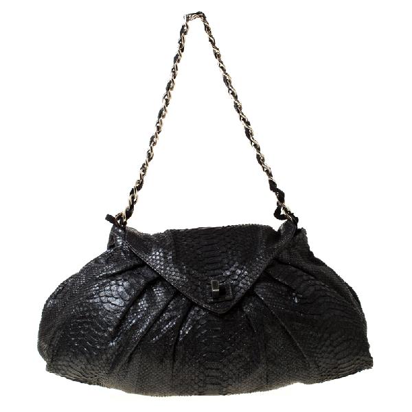 Zagliani Black Metallic Python Leather Shoulder Bag