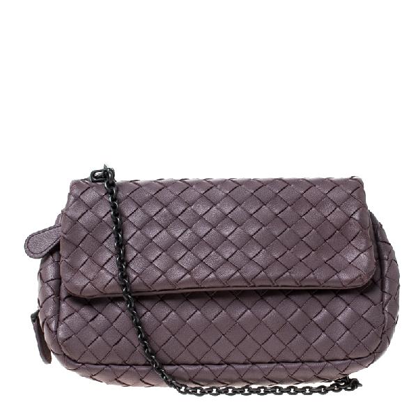 Bottega Veneta Light Purple Intrecciato Small Chain Crossbody Bag