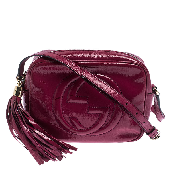 Gucci Magenta Patent Leather Small Soho Disco Shoulder Bag In Pink