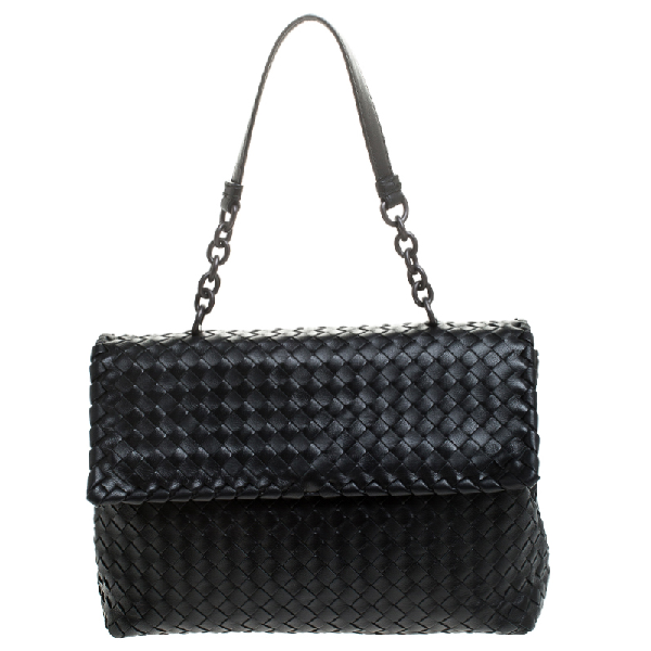 Bottega Veneta Black Leather Olimpia Chain Strap Shoulder Bag