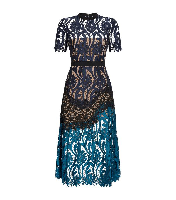 Self-portrait Satin And Grosgrain-trimmed Paneled Guipure Lace Midi Dress In Multi