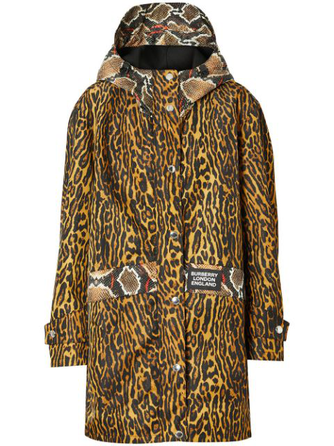 Burberry Cramond Leopard & Pythong Print Anorak Jacket In Brown
