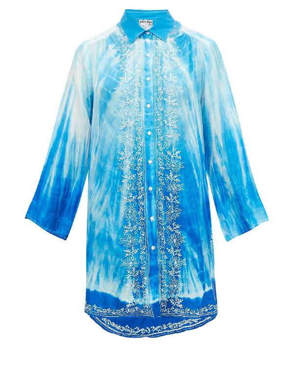 Juliet Dunn Batik Tie Dye Shirt Floral Blue Embroidery In Blue Multi