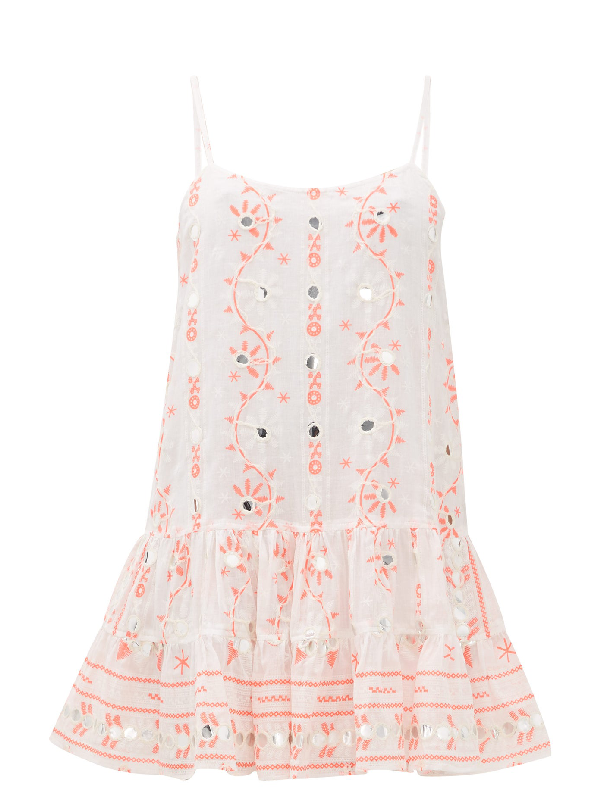 Juliet Dunn Mirror-embroidered Cotton Mini Dress In White