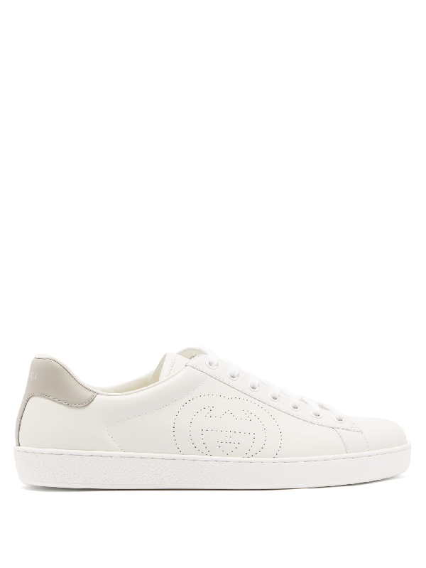 Gucci Men's Shoes Leather Trainers Sneakers Ace In White/grey Sky