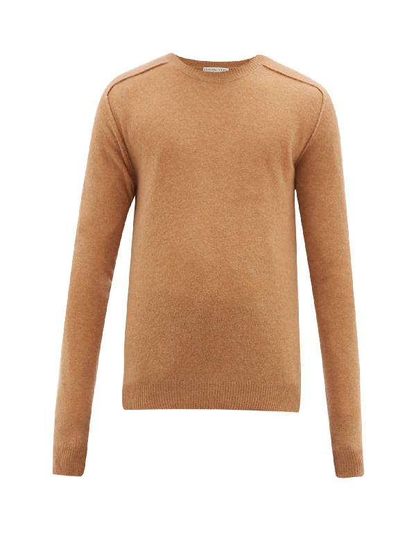 Bottega Veneta Monogram-intarsia Cashmere Sweater In Camel