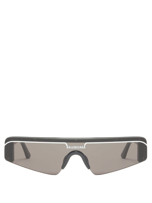 Balenciaga Ski Rectangle-Frame Enamelled Acetate Sunglasses In Black