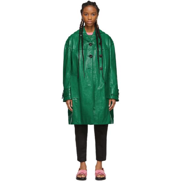 Marni Green Croc Duster Coat In 00v72 Jade