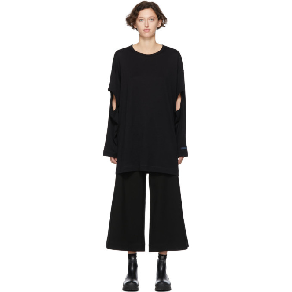 Regulation Yohji Yamamoto Black R-ls Hole Open T-shirt In 2 Black
