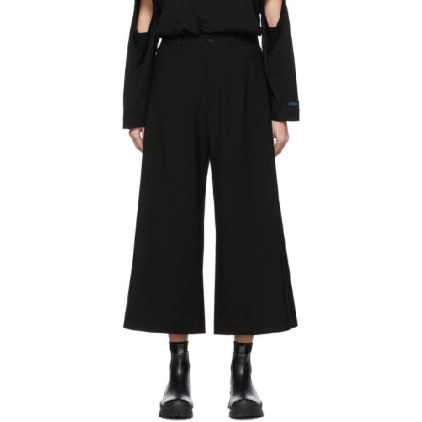 Regulation Yohji Yamamoto Black Wool R-waist Tub Trousers In 1 Black