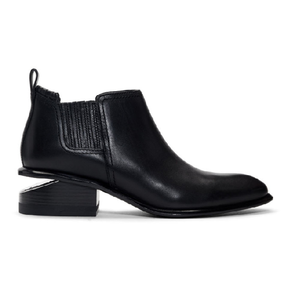 Alexander Wang Women's Kori Pointed Toe Leather Ankle Boots In 001 Black