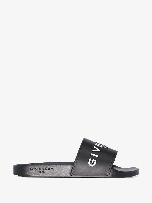 Givenchy Beach Sandals Slide  Gum Logo Black