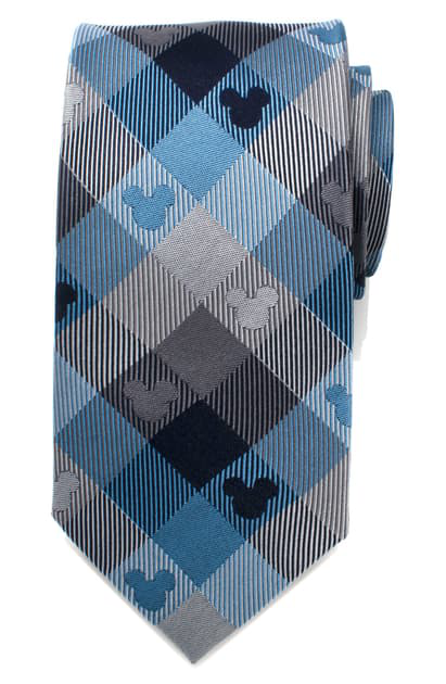 Cufflinks, Inc Mickey Mouse Plaid Silk Tie In Blue/ Grey