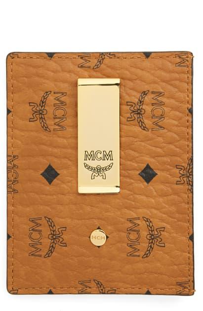 Mcm Visetos Coated Canvas Money Clip Card Holder In Cognac