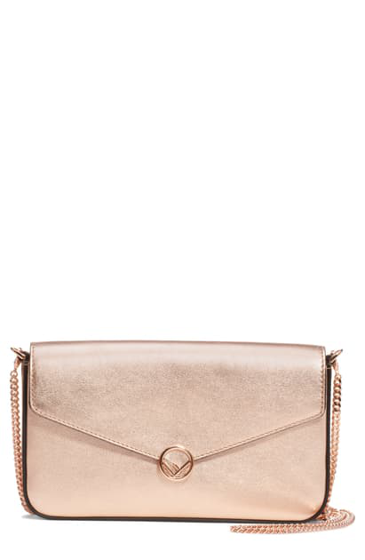 Fendi Metallic Leather Wallet On A Chain In Copper/ Gold Pink