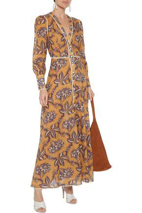 Zimmermann Castile Crochet-trimmed Floral-print Cotton-gauze Maxi Dress In Saffron
