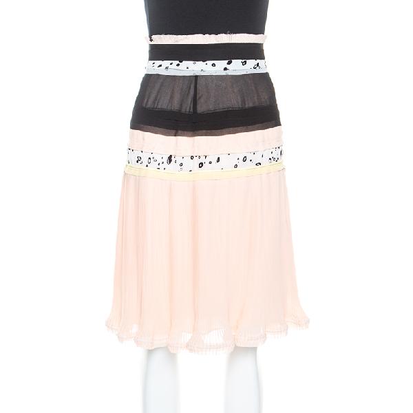 Carven Cream Chiffon Patchwork Detail Pleated Skirt M