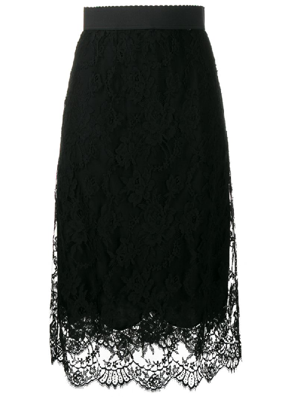 Dolce & Gabbana Floral Lace Midi Skirt In Black