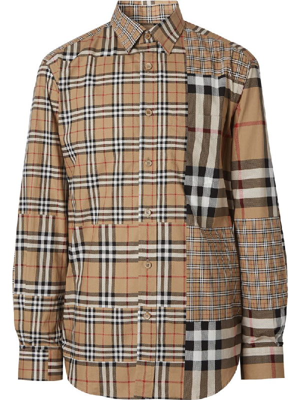 Burberry Classic Fit Patchwork Check Cotton Shirt In Archive Bei
