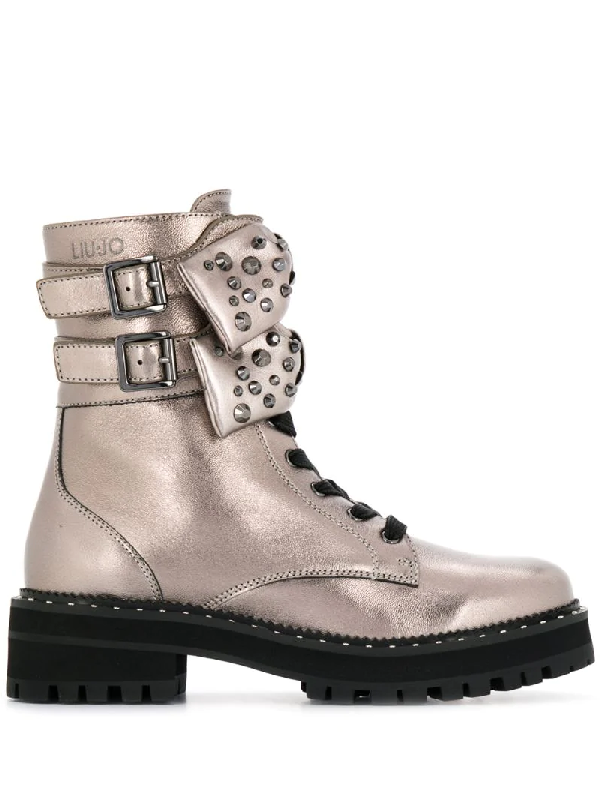 Liu •jo Bow Detail Boots In Gold