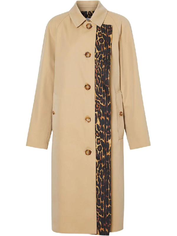 Burberry Leopard Print-lined Cotton Gabardine Car Coat In Neutrals