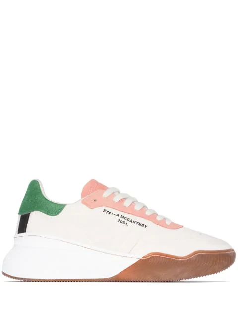 Stella Mccartney 40mm Loop Nylon & Faux Leather Sneakers In Neutrals